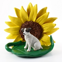 Jack Russell Terrier Brown & White w/Rough Coat SUNFLOWER FIGURINE