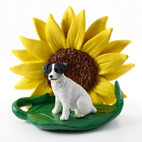 Jack Russell Terrier Black & White w/Rough Coat SUNFLOWER FIGURINE