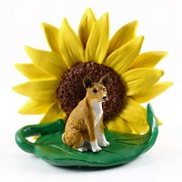Basenji SUNFLOWER FIGURINE