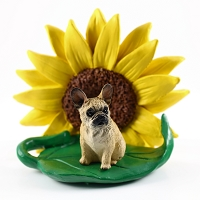 French Bulldog Fawn SUNFLOWER FIGURINE
