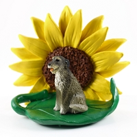 Irish Wolfhound SUNFLOWER FIGURINE