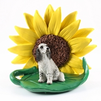 English Setter Belton Blue SUNFLOWER FIGURINE