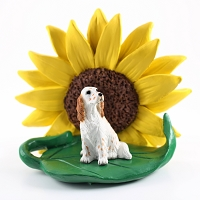 English Setter Belton Orange SUNFLOWER FIGURINE