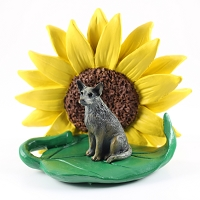 Australian Cattle BlueDog SUNFLOWER FIGURINE
