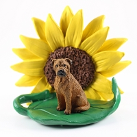 Bullmastiff SUNFLOWER FIGURINE
