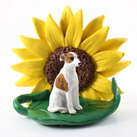 Whippet Brindle & White SUNFLOWER FIGURINE