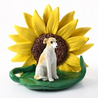 Whippet Tan & White SUNFLOWER FIGURINE