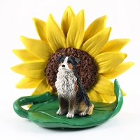 Australian Shepherd Tricolor SUNFLOWER FIGURINE