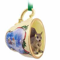 Squirrel RedTea Cup Sleigh Ride Holiday Ornament