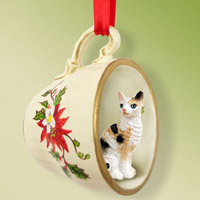 Tortoise & White Cornish Rex Tea Cup Red Holiday Ornament