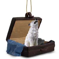 Wolf White Traveling Companion Ornament