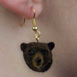 Bear Black Earrings Hanging