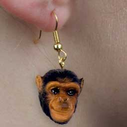Chimpanzee Earrings Hanging