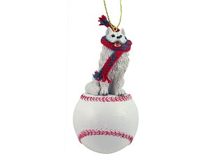 Samoyed Baseball Ornament