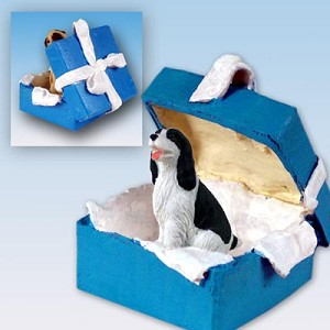 Springer Spaniel Black & White Gift Box Blue Ornament