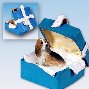 Basset Hound Gift Box Blue Ornament