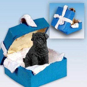 Shar Pei Black Gift Box Blue Ornament