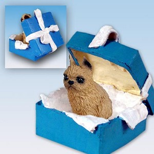 Brussels Griffon Red Gift Box Blue Ornament