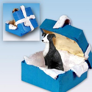 Greyhound Black & White Gift Box Blue Ornament