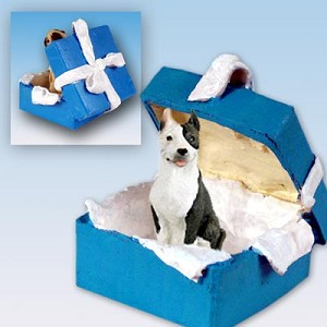 Pit Bull Terrier Brindle Gift Box Blue Ornament