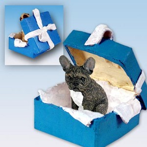 French Bulldog Gift Box Blue Ornament