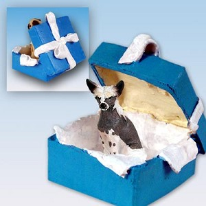 Chinese Crested Dog Gift Box Blue Ornament