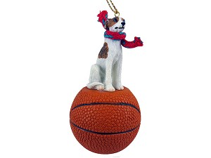 Whippet Brindle & White Basketball Ornament