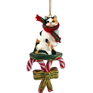 Calico Shorthaired Candy Cane Ornament