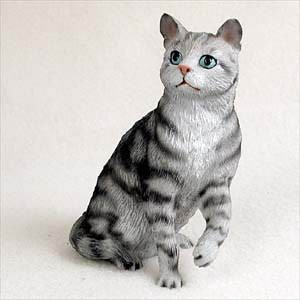 Silver Shorthaired Tabby Cat Standard Figurine