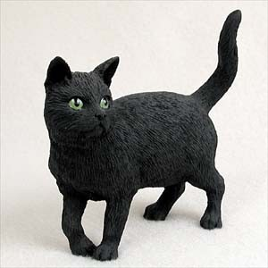 Black Shorthaired Tabby Cat Standard Figurine