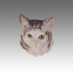 Silver Tabby Maine Coon Cat Tiny One head