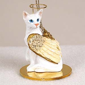 White Oriental Shorthaired Pet Angel Ornament