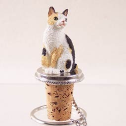 Tortoise & White Japanese Bobtail Bottle Stopper