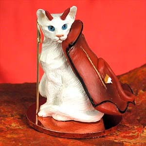 White Oriental Shorthaired Devilish Pet Figurine