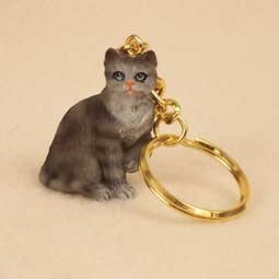 Silver Shorthaired Tabby Cat Key Chain