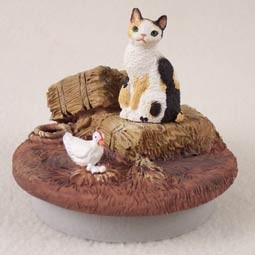 "Tortoise & White Japanese Bobtail Cat Candle Topper Tiny One ""A Day on the Farm"""
