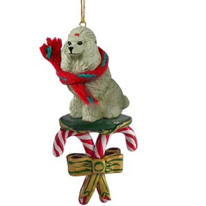 Poodle Gray Candy Cane Ornament