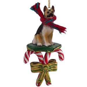 German Shepherd Tan & Black Candy Cane Ornament