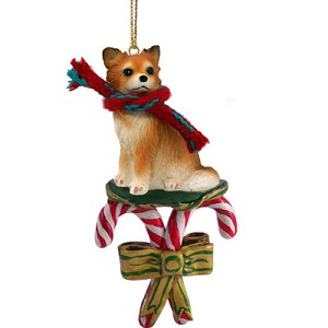 Chihuahua Longhaired Candy Cane Ornament