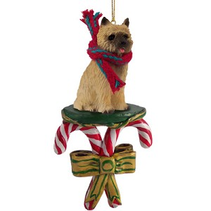 Cairn Terrier Red Candy Cane Ornament