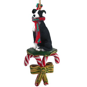 Greyhound Black & White Candy Cane Ornament