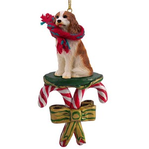 Cavalier King Charles Spaniel Brown & White Candy Cane Ornament