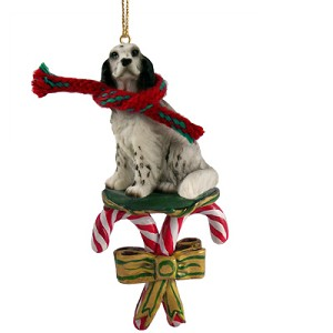 English Setter Belton Blue Candy Cane Ornament