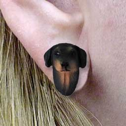 Doberman Pinscher Black w/Cropped Ears Earrings Post
