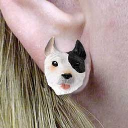 Pit Bull Terrier Brindle Earrings Post
