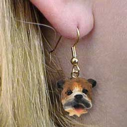 Bulldog Earrings Hanging