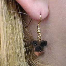 Boxer Tawny Uncropped Earrings Hanging