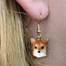 Chihuahua Longhaired Earrings Hanging