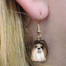 Shih Tzu Tan Earrings Hanging