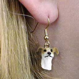 Greyhound Tan & White Earrings Hanging